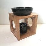 Olieverdamper hout abstract zwart ca 14cm