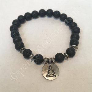 Mala armband lavasteen met boeddha bedel elastisch