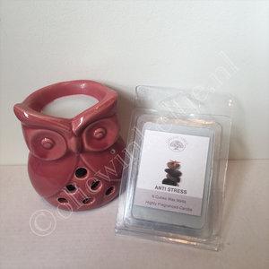 Kado tip geurpakket Anti stress waxmelts met uilhouder